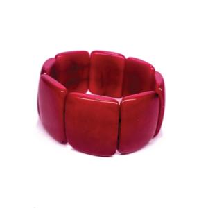 Bracciale elasticizzato in avorio vegetale, colore rosso. – TAYA