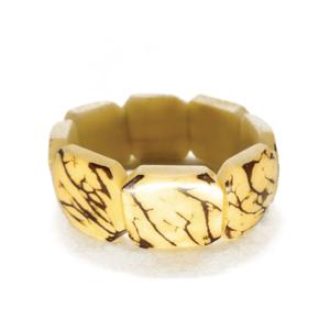 Bracciale elasticizzato in avorio vegetale, colore naturale: avorio/marrone. – TAYA