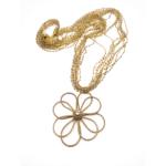 Collana lunga con ciondolo in oro vegetale e catena in perline di vetro – TAYA