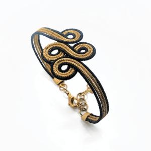 Bracciale in oro vegetale e filo nero – TAYA